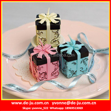 Square Gift Box With Ribbon Shaped Artificial Candle