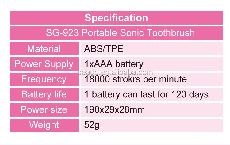 Mini travel portable sonic toothbrush SG923