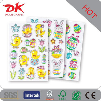 Latest new design happy easter crafts, silver pop up stickers