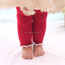 100% cotton fashion lace stripe baby girls leggings