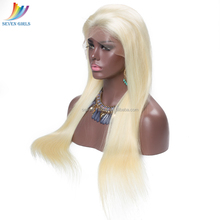 Brazilian Human Hair 613 Light Blonde Color Straight 130% Density Glueless Front Lace Wig With Baby Hair