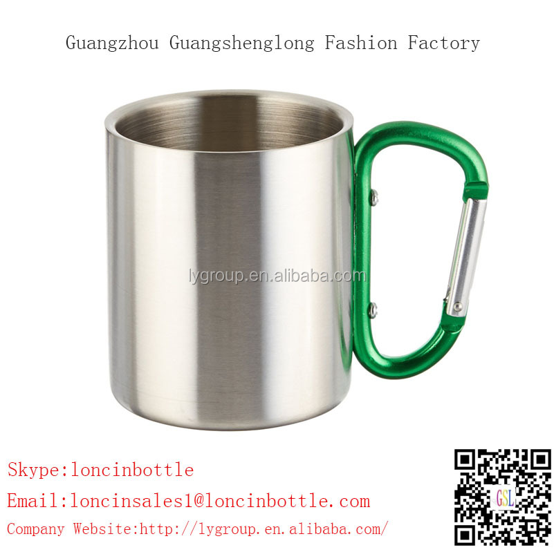 double wall stainless steel 220ml coffee cup with carabiner,Stainless Steel Mug Travel Coffee Tea Cup Home Office Tumbler