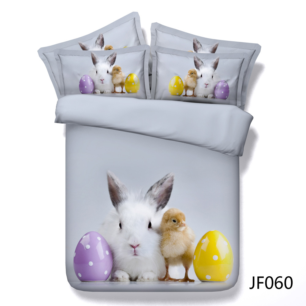 Cute White Rabbit and Little Chick with Painted Eggs 3d bedset