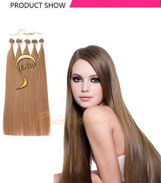 Free Ship 7A Peruvian Virgin Micro Loop Hair Extensions 1 gram 100 pcs 14-26 inch Keratin Micro loop Remy Human Hair Extensions