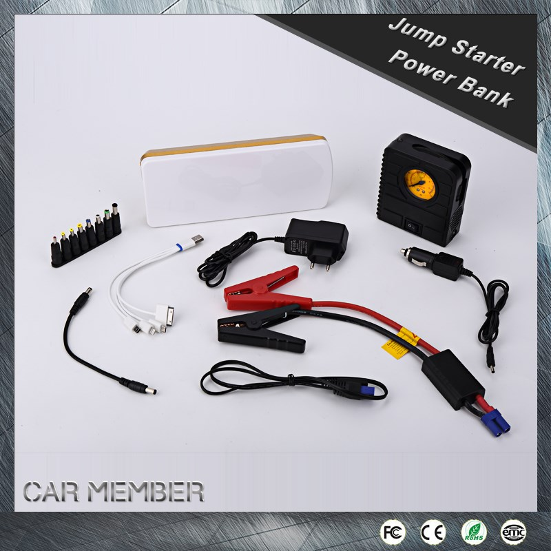 CAR MEMBER new project multi-function 18000mah 12V dry charged car battery with air compressor