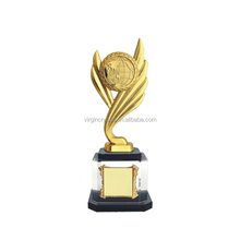 Golden metal customized musical trophies with wooden base for singing awards