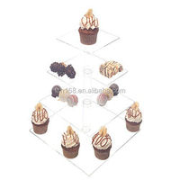 Detachable 4 Tier Large Square Pole Acrylic Cupcake Stand Cup Cake Display Wedding cake stands