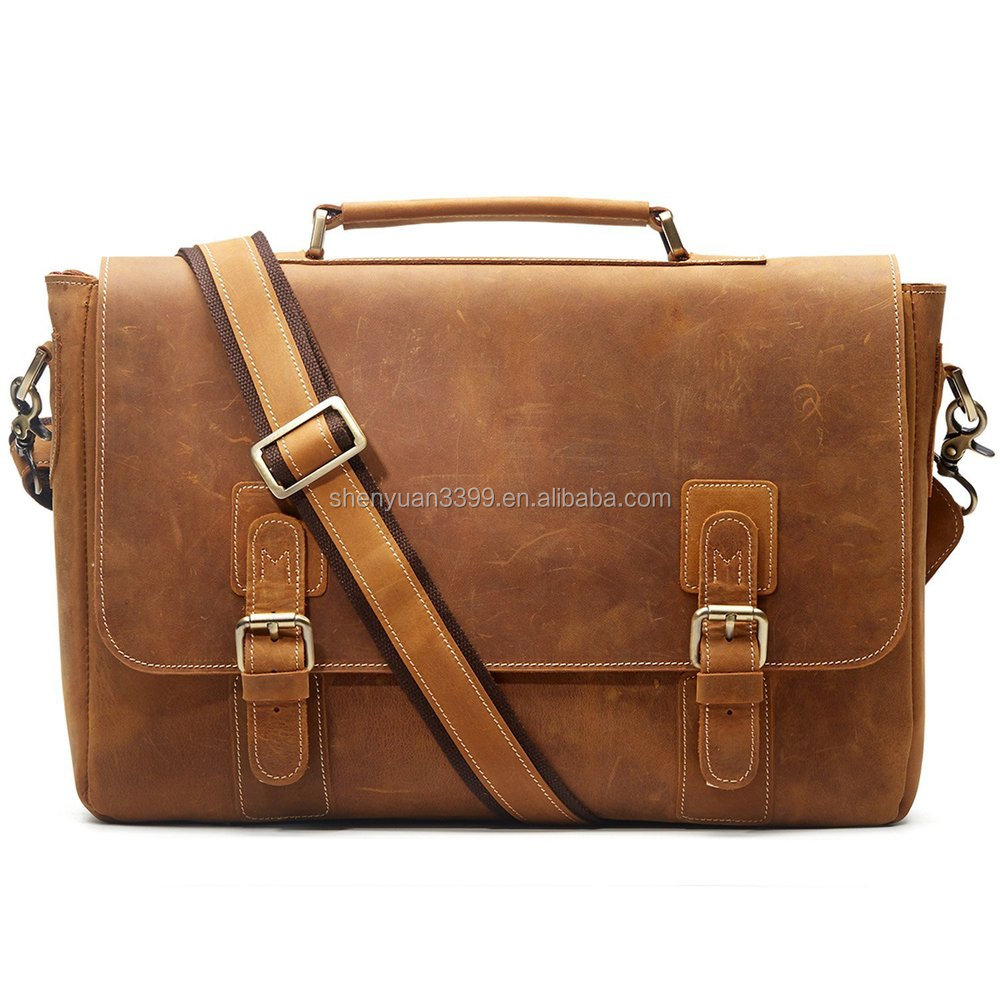 Browm color office leather briefcase for men come from Dongguan