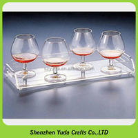 hotel serving trays hot bending crystal clear acrylic cocktail tray with personalized handles