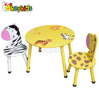 2016 wholesale children wooden table and chair, cartoon kids wooden table and chair, baby wooden table and chair W08G140