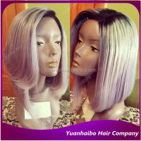 Quality 7A grade 1b/grey short bob cut wigs virgin brazilian hair layered bob front lace wig