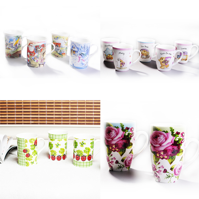 New Design Inner Colourful Ceramic Creative Breakfast Cup Coffee With Spoon Mug For