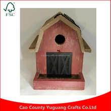 Customize Rustic Gable Roof Red Barn Hanging Wood Birdhouse