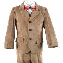 2016 New Brown Corduroy England Style Boys Blazer Suit Gentleman Toddler Kids Coat Vest Pant