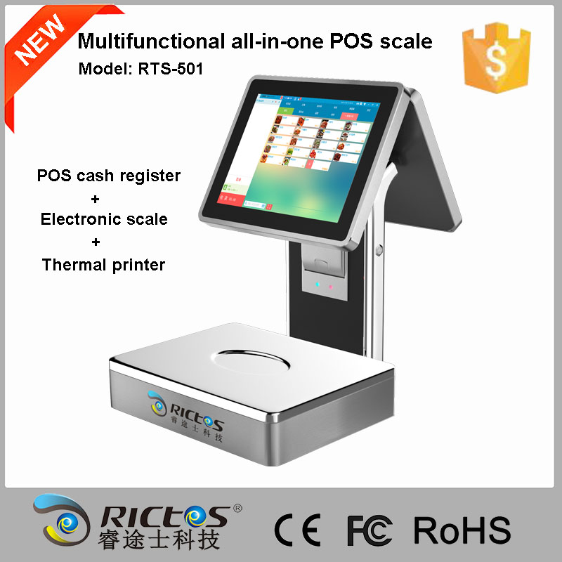 20 30kg digital food fruit scale with POS cash register and 58mm thermal printer RTS-501