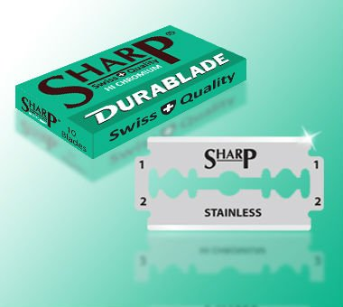 DURABLADE SWISS QUALITY SHARP HI CHROMIUM DOUBLE EDGE RAZOR BLADES