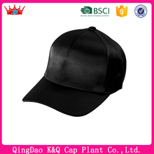 High -grade black blank satin baseball caps without logo