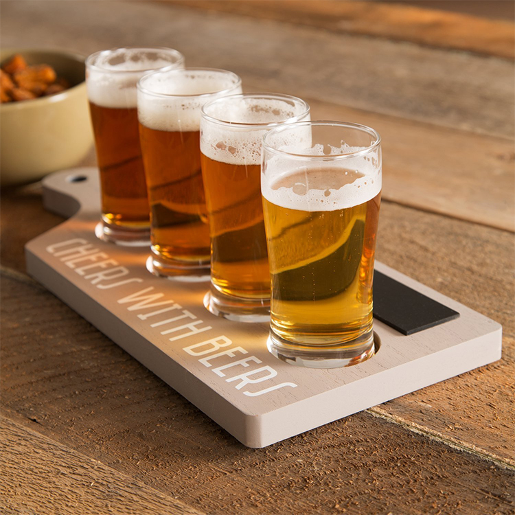 Grey cocktail flight paddle beer flight tray with handle