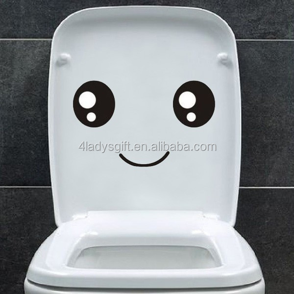 Promotional customized removable cute cartoon tile home decorative toilet seat bathroom pvc sticker for the wall decoration