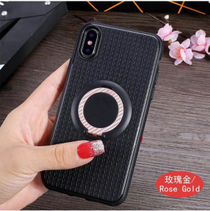 Wheat Ear Pattern 3 in1 Vehicle Mounted Car Phone Case Cover for iPhone 10 , for iPhone X Ring Holder TPU Case