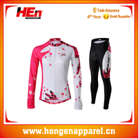 China Winter Custom Pink Color Fleece Made Bike Sports Long Sleeve Cycling Jersey with Pants
