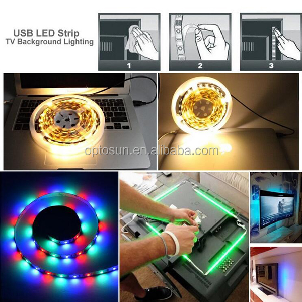 1M 2M 3m 4m 5m USB LED Strip Light 5V 5050 SMD Waterproof RGB Flexible TV Background Lighting Strip + Remote Controller