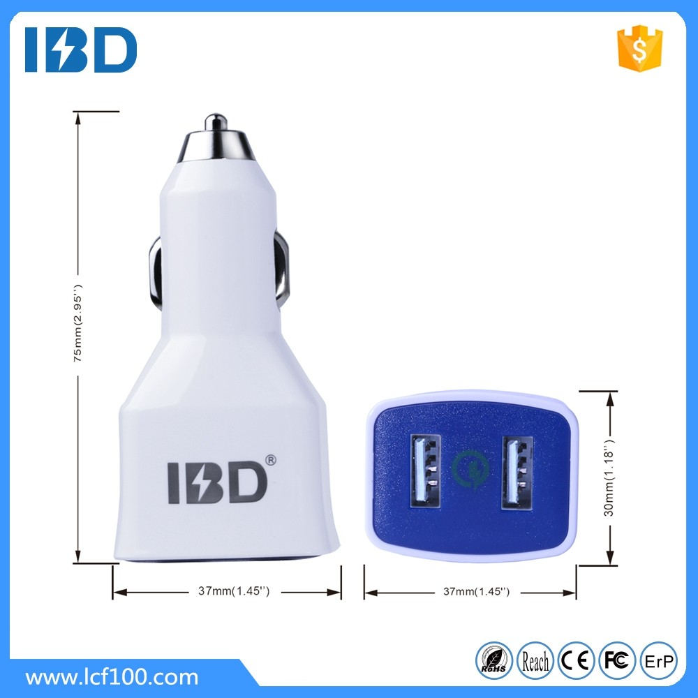 IBD design high quality CE FCC ROHS 24W dual port car usb charger for mobile phone