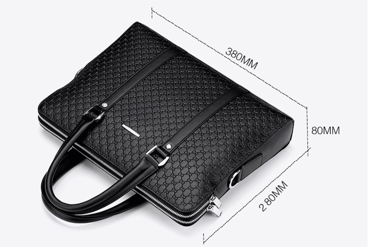 Waterproof PU leather Fashion Embossing Diamond Business Handbag Messenger Shoulder Laptop bag Briefcase Men
