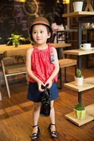 fashion 2016 girl sleeveless blouse summer bouse off shoulder blouse bright color baby girl printed dress for summer