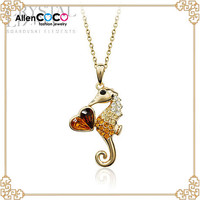 Latest Hippocampus shape pendant Gold Necklace with Heart necklace for Women animal jewelry