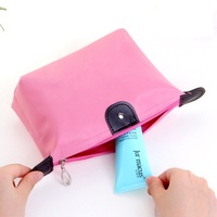 Wholesale Polyester Custom Logo Makeup Bags Promotional Stock Small Travel Cosmetic Bags for Ladies