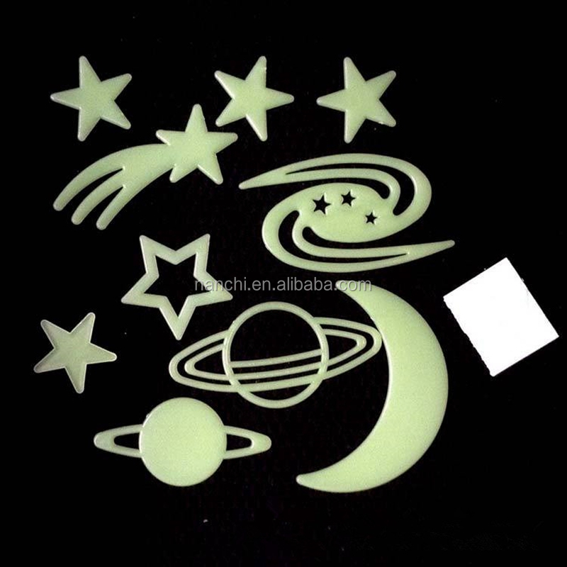 PVC Luminous planet star stickers Fluorescent glow in the dark for home decoration DIY planet star stickers