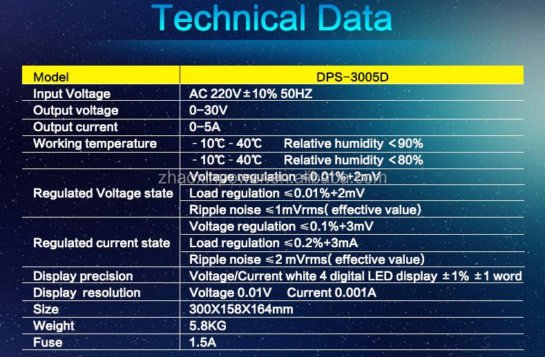 Zhaoxin DPS-3005D Single output programmable inear dc power supply