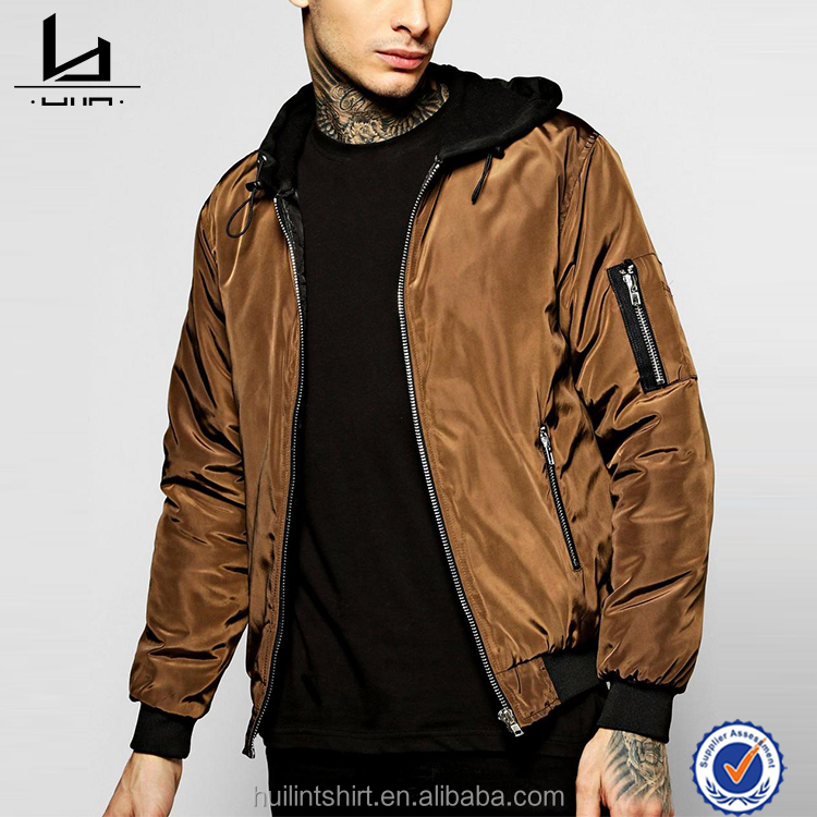 Custom casual men coaches bomber army jacket with jersey hood