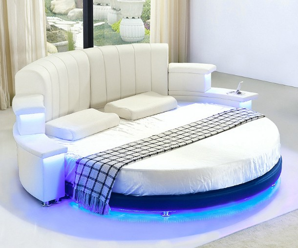 2016 Factory Supply Modern Leather Round Bed With Led Light And  - Round Beds