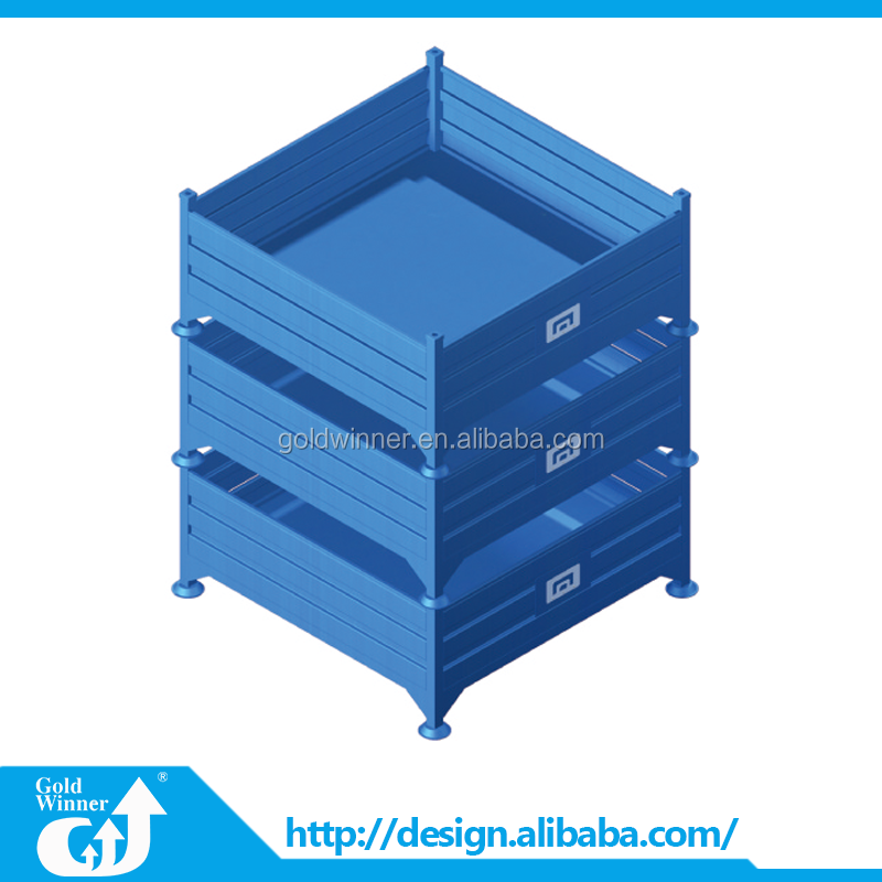 Foldable Galvanized Collapsible Wire Mesh Container / Rolling Metal Storage Cage