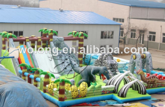 newest Dinosaur inflatable dry Slide for kids