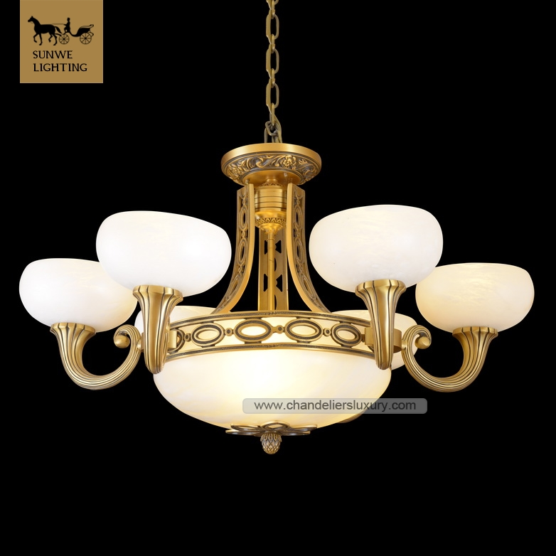 High quality alabaster marble expensive mosque european chandeliers in bronze