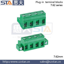 Green phoenix contact terminal block with 3.81mm 3.5mm 7.62mm pitch for PCB