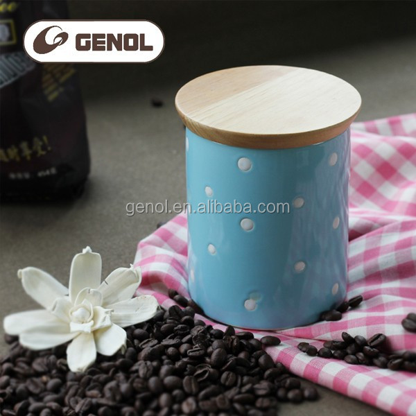 Factory price new design ceramic kitchen canisters with wood lid