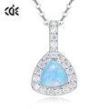 Factory Price Blue 925 Sterling Silver Triangle Opal Necklace