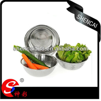 3pcs Eco-friendly Stainless Steel Vegetable Fruit Rice Colander / Drain Strainer Basket