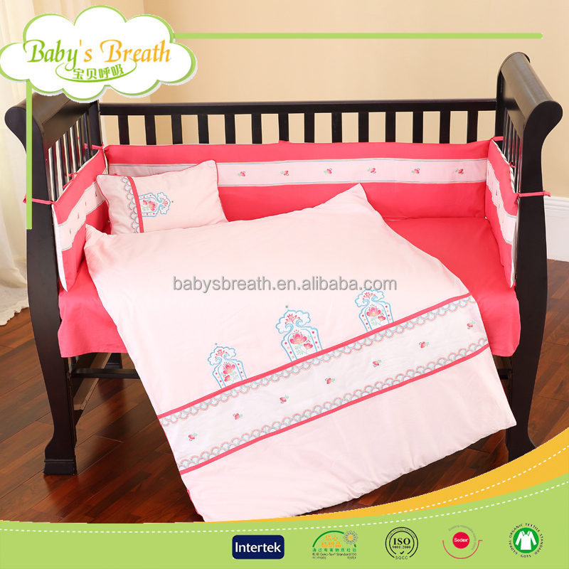 BBS305 100%cotton european baby grils crib bed linen set, bed linen set for home