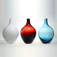 white/red/blue tall and short flower glass vase/crystal decoration glass vase