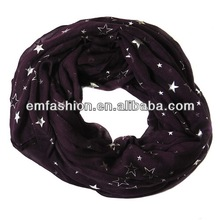 New Arrival Girls Voile Silver Star Stamp Scarf