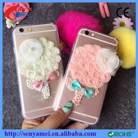Bouquets with Fur Ball Fancy Cell Phone Case for iphone 6 new arrival 2015