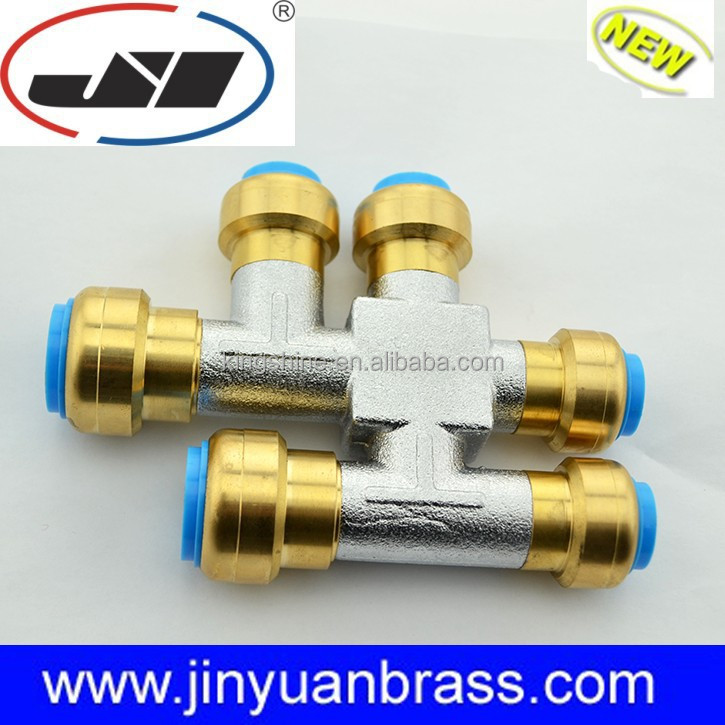 Double tee joint brass pipe fitting push fit