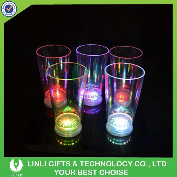 Supplies Cheap Plastic LED Glowing Fancy Drinking Glass, Colorful LED Light Up Drinking Glass Cup Factory