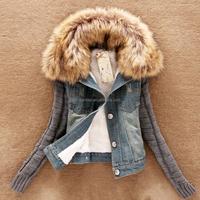 Women winterJacket Plus Size Thick Denim Ladies Down & Parkas Casual Cotton Padded Coat Women Fur Collar Coat