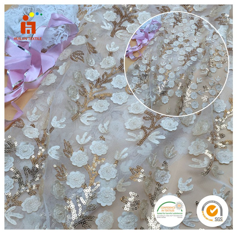 high quality 3d guipure flower tulle embroidery fabrics beads sequin big heavy lace swiss voile lace